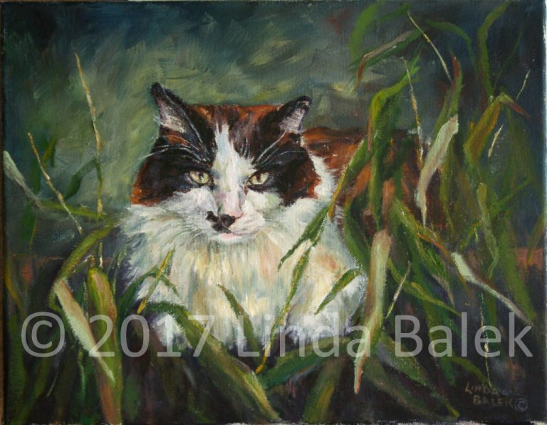 oil painting calico cat with plant