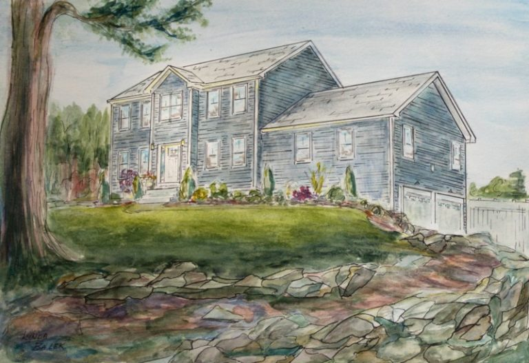 grayish blue house with stone wall painting