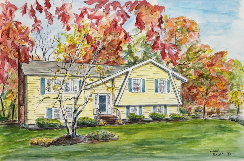 yellow house in fall painting